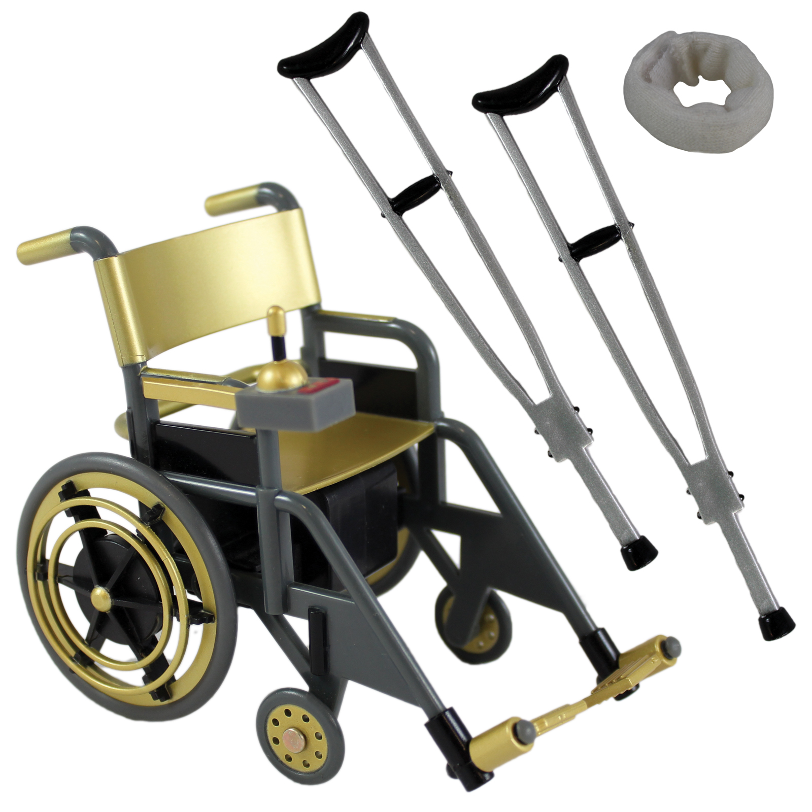 Wheelchair Playset (Gold) - Ringside Collectibles Exclusive Toy Wrestling Action Figure Accessories