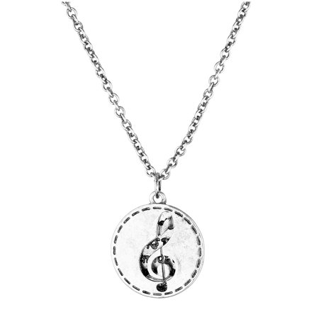 Lux Accessories SilverTone Music Note G Clef Personalize Silver Plated Necklace