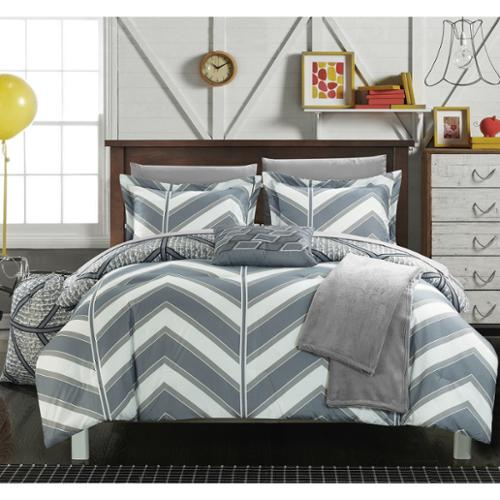 Chic Home Amaretto Chevron Reversible 10-piece Bed in a Bag with Sheet Set Full- Grey