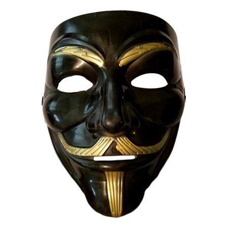 Black Gold Guy Fawkes Anonymous V for Vendetta Halloween Costume Mask - V Halloween Mask