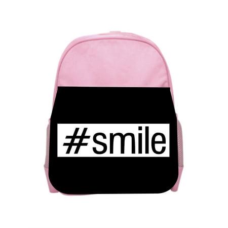 - #smile - Girls Pink Preschool Toddler Children's Backpack & Lunch Box Set