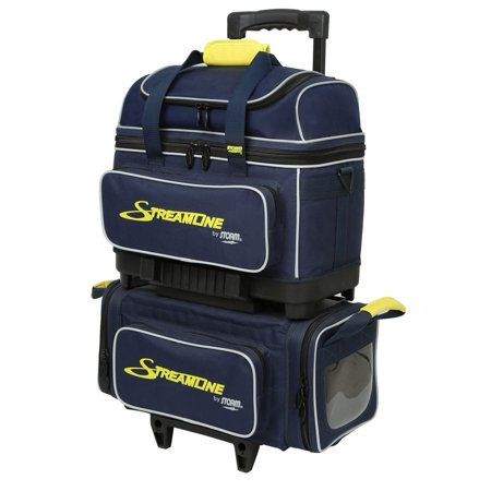 Storm Streamline 4 Ball Roller Bowling Bag- Navy/Gray/Yellow - 4 Ball Bowling Bags