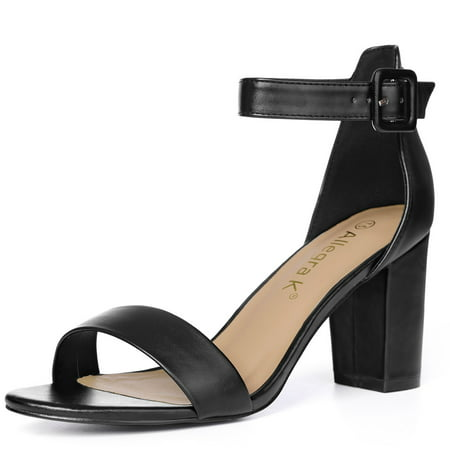 Unique Bargains Women Chunky Heel Ankle Strap Sandals Open Toe Block
