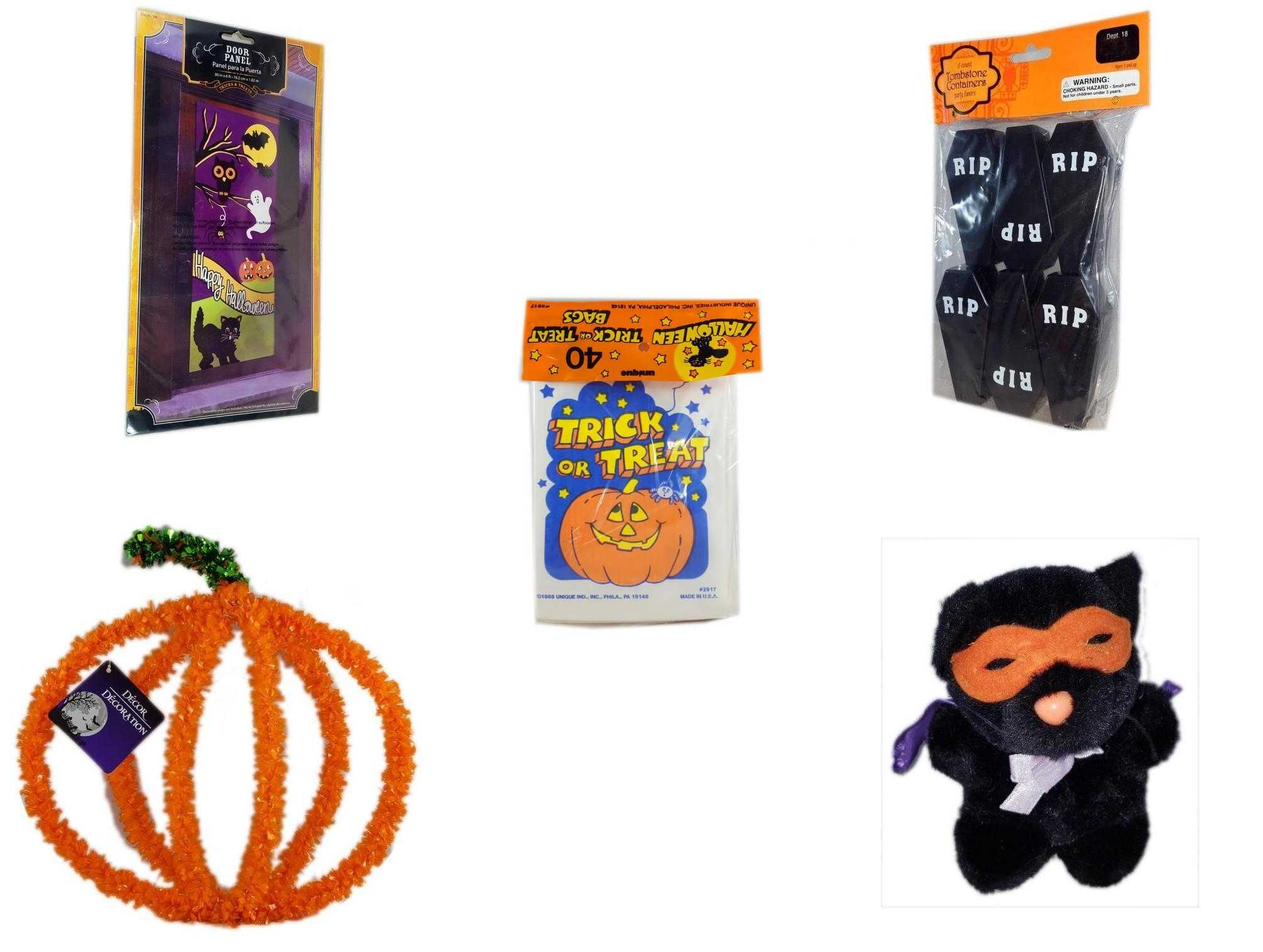 Halloween Fun Gift Bundle [5 Piece] Happy Door Panel Tombstone Containers Party Favors 6 Count Trick or Treat Bags 40 ct Pumpkin Plastic on
