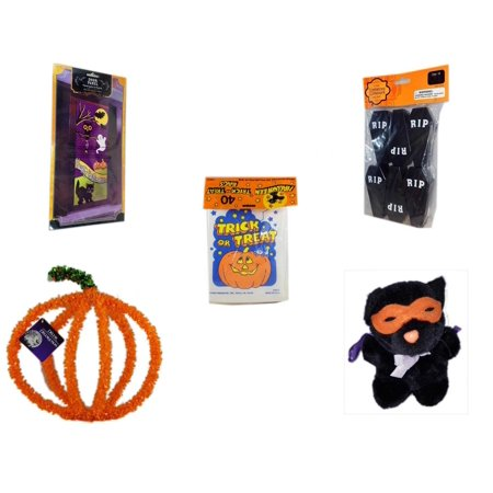 Halloween Fun Gift Bundle [5 Piece] - Happy  Door Panel - Tombstone Containers Party Favors 6 Count -  Trick or Treat Bags 40/ct -  Pumpkin Plastic on Wire Decoration - Manley Toys  Costume Cat Plus