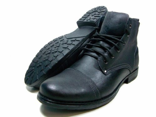 Mens Black Polar Fox By Delli Aldo Military Combat Style Lace up Ankle High Boots Styled in Italy
