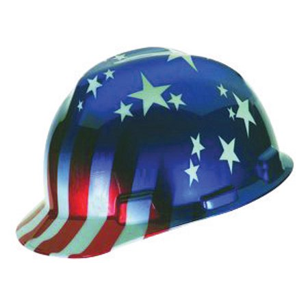 Msa V Gard Freedom Series Class E Type I Hard Cap With Fas Trac Suspension And American Stars And Stripes