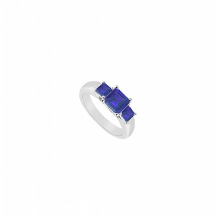 Fine Jewelry Vault UBUJ548W14S Three Stone Created Sapphire Ring in 14K White Gold - 0.50 CT TGW