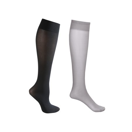 2 Pair Mild Compression Knee High Stockings - Wide