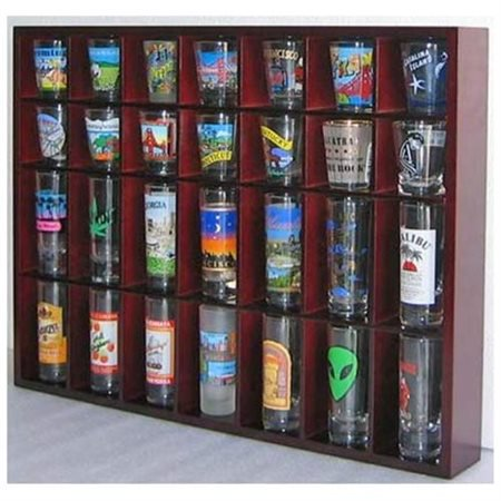 Unlighted Display Case (28 Shot Glass Shooter Display Case Holder Cabinet Rack, solid wood, NO Door, Mahogany Finish (SC11-MAH) )