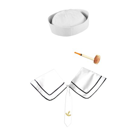 Mens White Sailor Gob Hat Corn Cob Pipe And Deluxe Collar Costume Accessories](Sailors Hat)