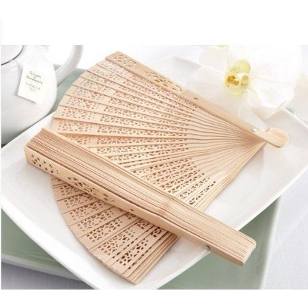 Vintage Bridal (Summer Vintage Folding Bamboo Wooden Carved Hand Fan Wedding Bridal Party (1pcs), Material: Wood By Nicky's)