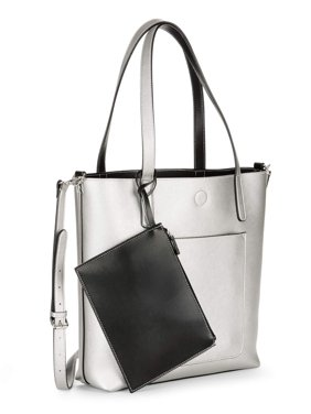 Product Image Time And Tru Leigh North South Reversible Tote With Pouch
