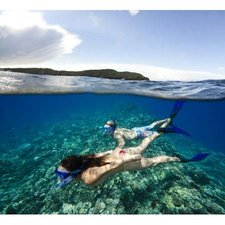 A couple free diving off Molokini Marine Preserve Maui Hawaii Poster Print by VWPicsStocktrek (Maui Jim Free Dive)