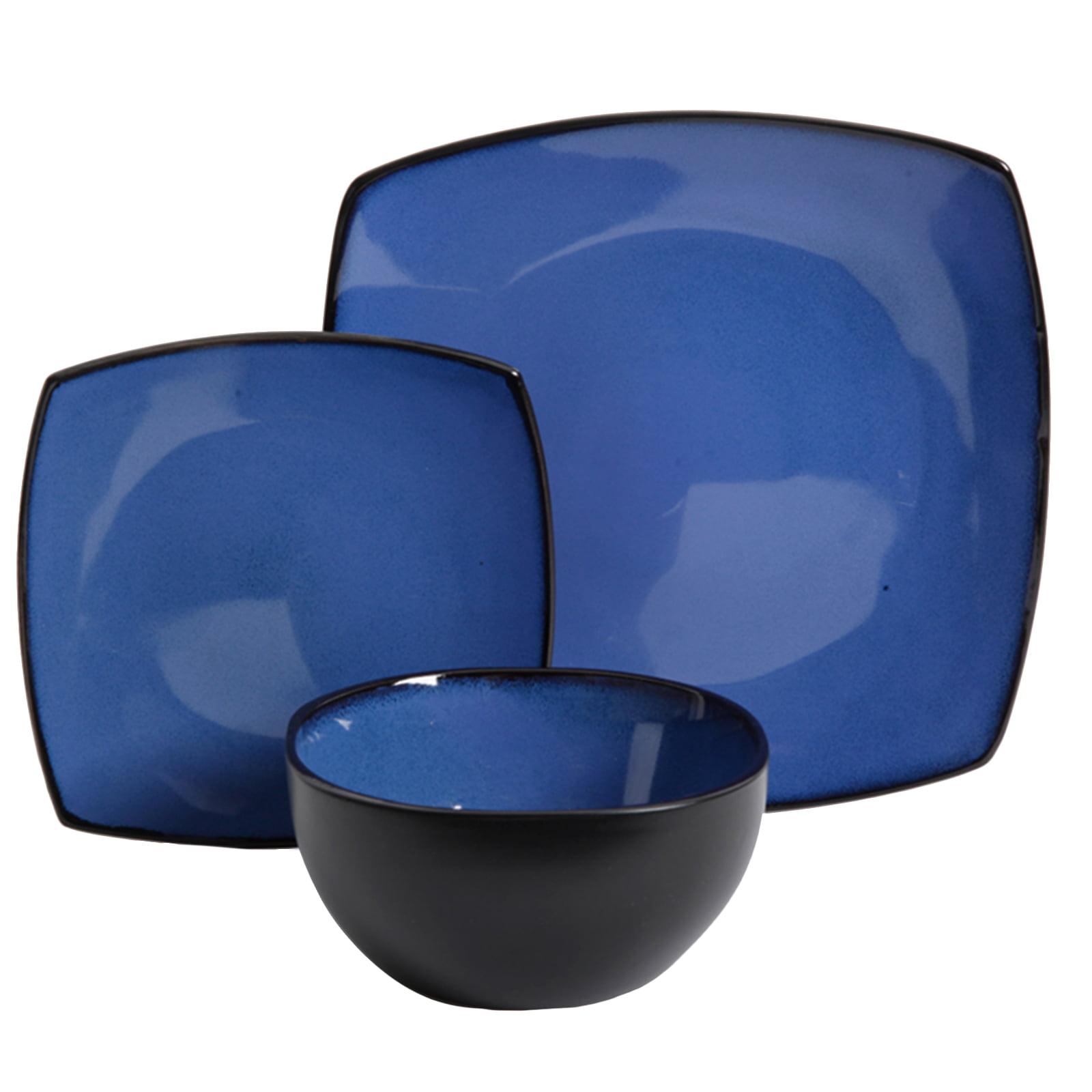 Soho Lounge 12-Piece Soft Square Dinnerware Set, Cobalt Blue