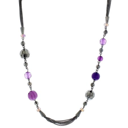 "Global & Vine 40"" Purple and Hematite Beaded Strand Necklace"