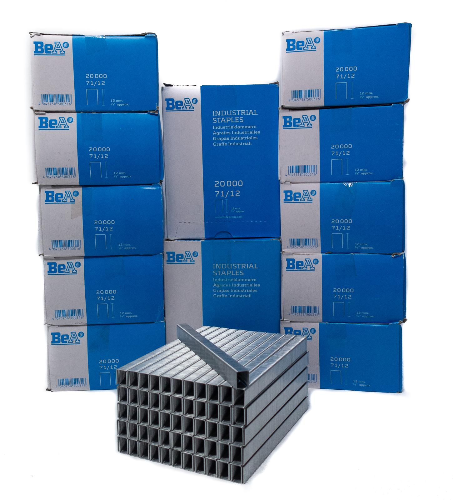 BeA 10000125 Series 71//12 Galvanized Steel Staples 1//2 deep 20,000 per box