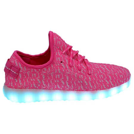 Galaxy LED Shoes Light Up USB Charging Low Top Knit App Control Women Sneakers (Pink)