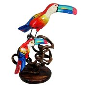 Stoneage Arts Handmade Albesia Wood Toucan and Baby Perched on Woven Branch (Indonesia)