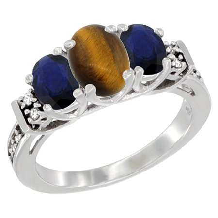 10K White Gold Natural Tiger Eye & Blue Sapphire Ring 3-Stone Oval Diamond Accent 10k Gold Tiger Eye