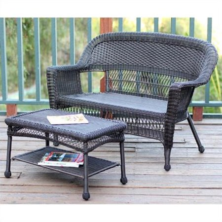 Jeco Wicker Patio Love Seat and Coffee Table Set in Espresso without Cushion