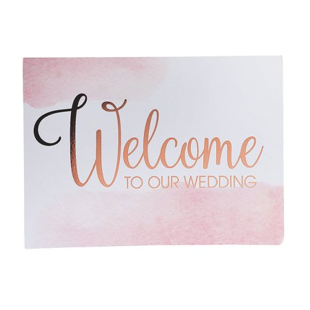 Fun Express - Copper Foil Welcome Sign for Wedding - Party Decor - General Decor - Misc General Decor - Wedding - 1 Piece (Wedding Welcome Signs)