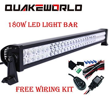 Driving Harness - Quakeworld 34 Inch CREE 180w LED Work Light Bar Spot and Flood Combo Beam IP67 Waterproof Offroad Light for Truck Car ATV SUV Jeep Boat 4WD ATV Auxiliary Driving Lamp - with Wiring Harness Kit