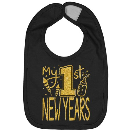 - Handmade Cute Baby Holiday First New Years Gold Flake Black Bib - Screen Pressed Infant Boy Girl My 1st New Years Bibs