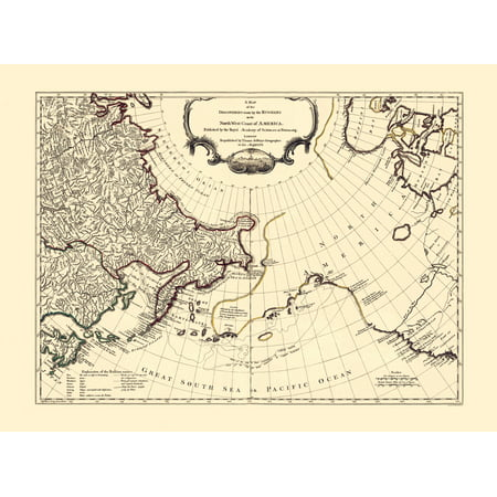 Old Russia Map - Russia Discoveries, North West Coast of America 1764 - 23  x 31