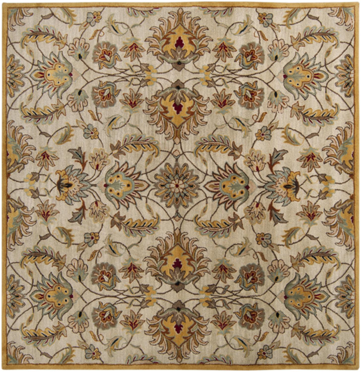 9.75' x 9.75' Alexandria Caramel Tan and Silver Gray Wool Area Throw Rug