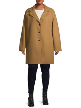 Time and Tru Women's Plus Size Faux Wool Button Front Dad Coat