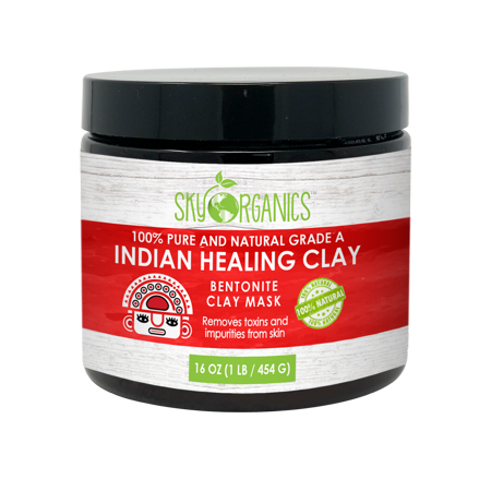 Indian Healing Clay By Sky Organics 16oz –100% Pure & Natural Bentonite Clay-Therapeutic Grade - Face Skin Care, Deep Skin Pore Cleansing, Detoxifying- Helps with Acne & Rejuvenating Skin- Made... (Bentonite Powder Clay)