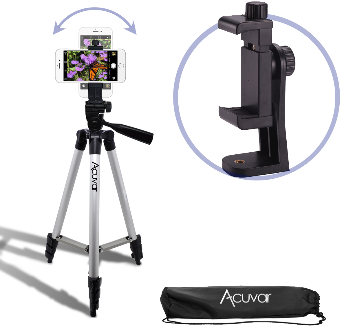 """Acuvar 50"""" Smartphone/Camera Tripod with Rotating Mount. Fits iPhone  Xs, Xs Max, Xr, X, 8, 8+, 7, 7 Plus, 6, 6 Plus, 5s Samsung Galaxy, Android, etc."""