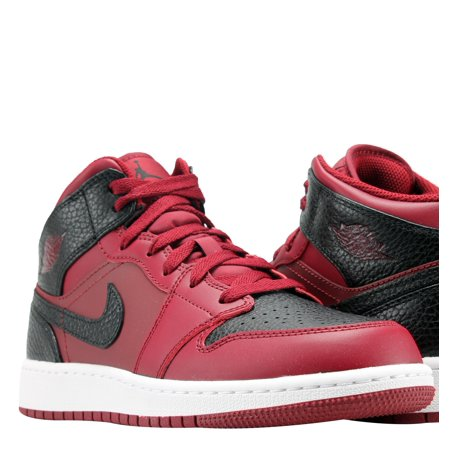 2083770851223c Jordan - Nike Air Jordan 1 Mid Team Red Black-White Men s Basketball Shoes  554724-601 - Walmart.com
