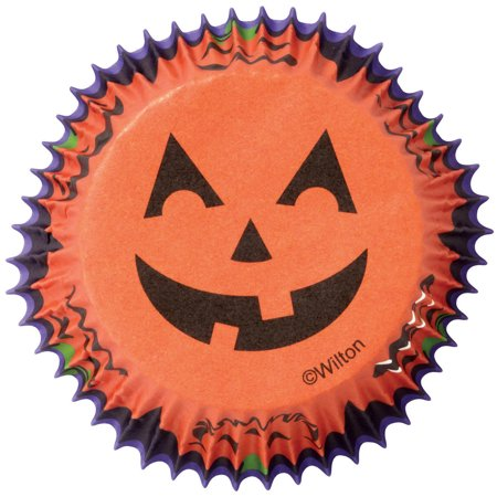 Wilton Standard Baking Cup Liner, Jack-O-Lantern 75 ct. 415-7084 (Easy Halloween And Thanksgiving Cupcake Decorating Ideas)
