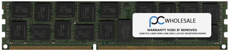 HP Compatible 16GB PC3-12800 DDR3-1600 2Rx4 1.5v ECC Registered RDIMM  (HP PN# 672631-B21)