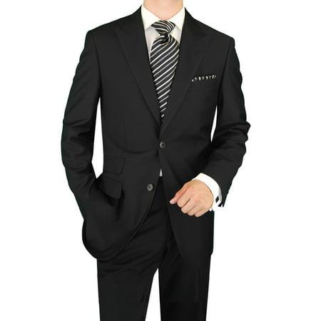 DTI GV Executive Men's Italian Two Button Wool Suit Set Ticket Pocket Jacket Black