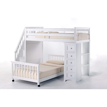 Hillsdale School Twin Stair Loft Chest End Twin Lower Bed White