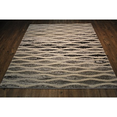 "Area Rug in Grey with Beige & Black Modern Design with Juke Backing. 100% Polypropylene. Size 5'3"" X 7'5"