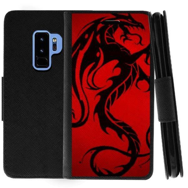 TurtleArmor ® | For Samsung Galaxy S9+ (Plus) G965 [Wallet Case] Leather Cover with Flip Kickstand and Card Slots - Red Dragon