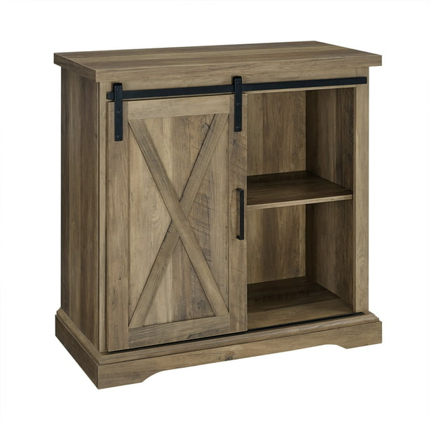 Pemberly Row 32 Farmhouse Sliding Barn Door Wood Accent Chest In Rustic Oak Walmart Com Walmart Com