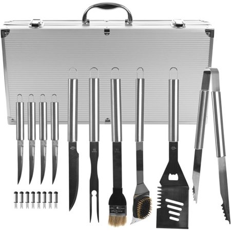Bbq Grilling Tool Kit  19 Piece Stainless Steel Summer Barbecue Grill Utensil Set With Carrying Case By Chef Buddy