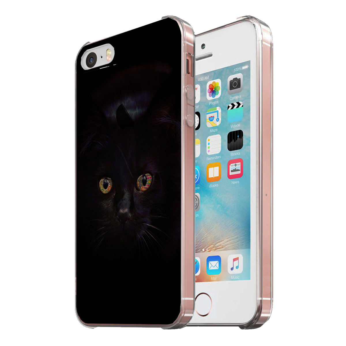 KuzmarK Clear Cover Case fits iPhone SE & iPhone 5 - Black Cat Painting Eyes