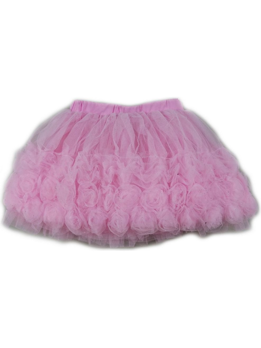 Wenchoice Girls Pink 3-D Rose Trim Embellished Tutu Skirt