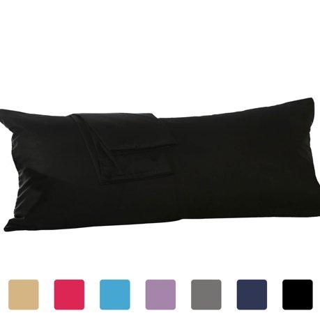 body pillow case cover pillowshams cotton pillowcases protector black 20 x 48 inch. Black Bedroom Furniture Sets. Home Design Ideas