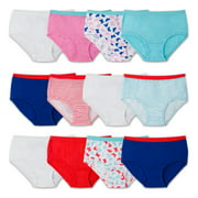 Girls' 100% Cotton Brief Panties, 12 Pack