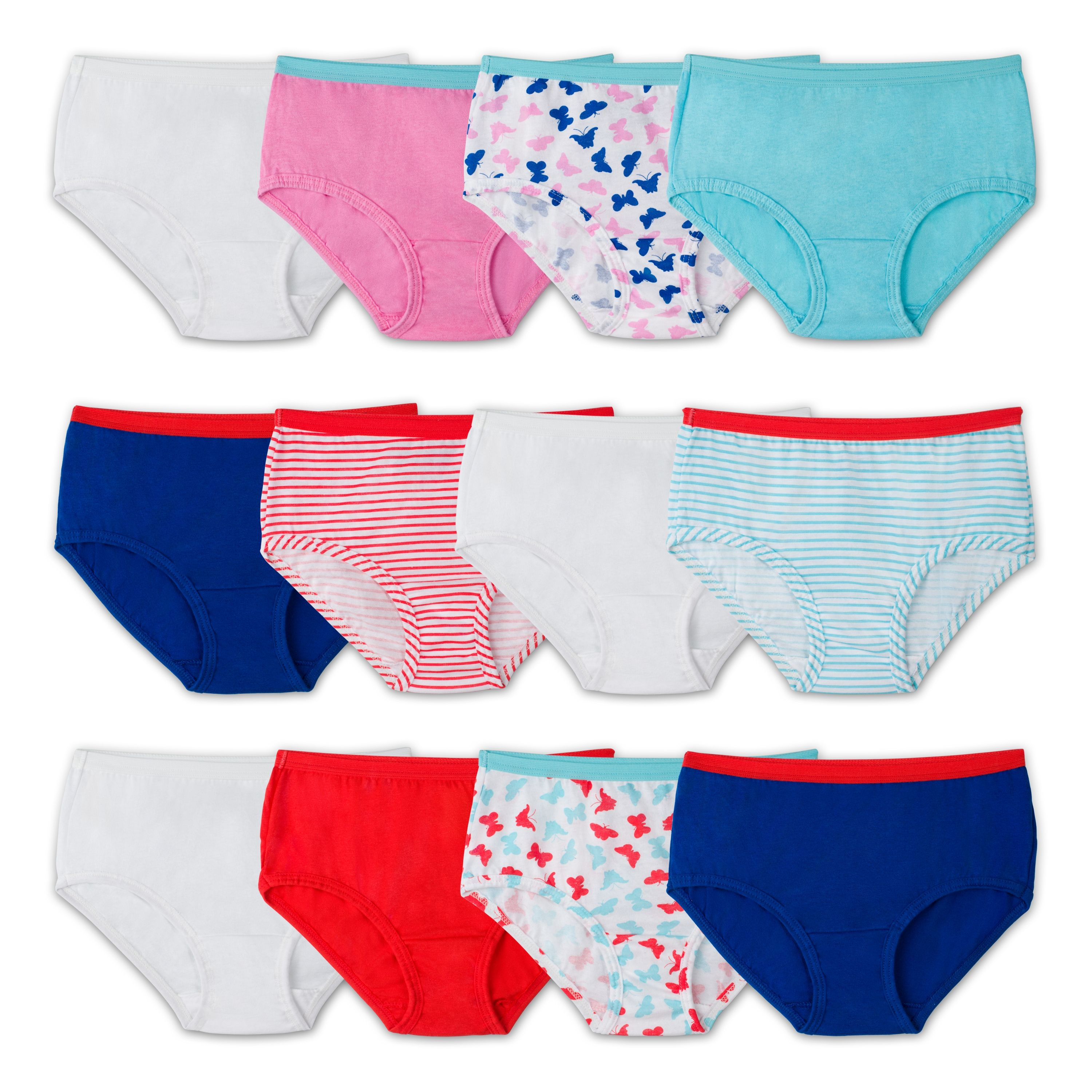 Fruit of the Loom Assorted Classic Cotton Brief, 12 Pack (Little Girls & Big Girls)
