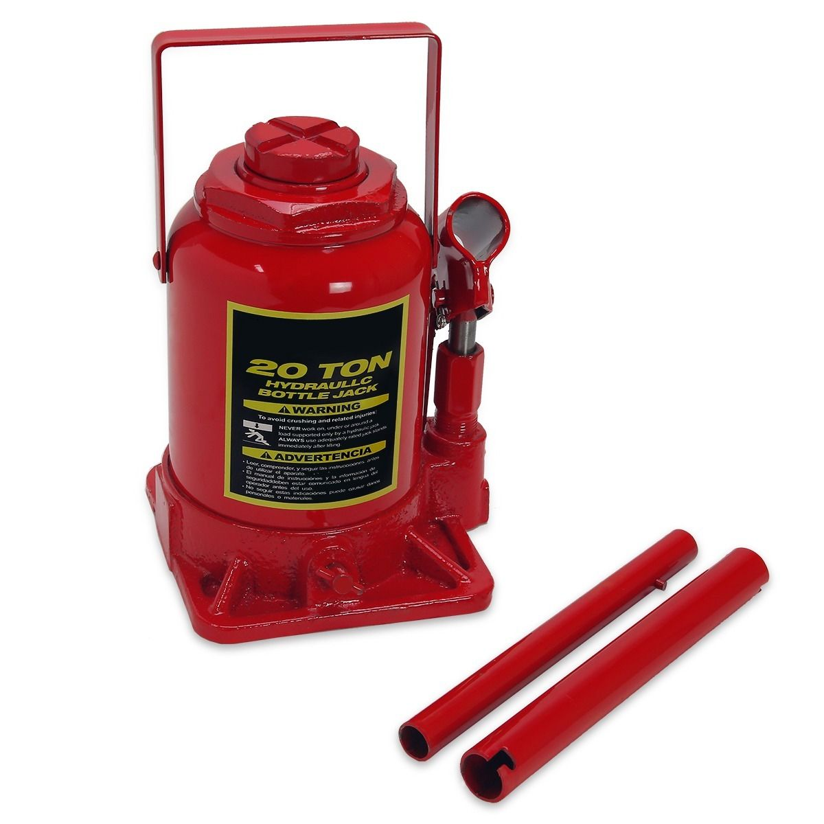 """GHP 7.5""""-13.8"""" Lift Height Steel 20-Ton Capacity Hydraulic Bottle Jack with 2 Handles"""