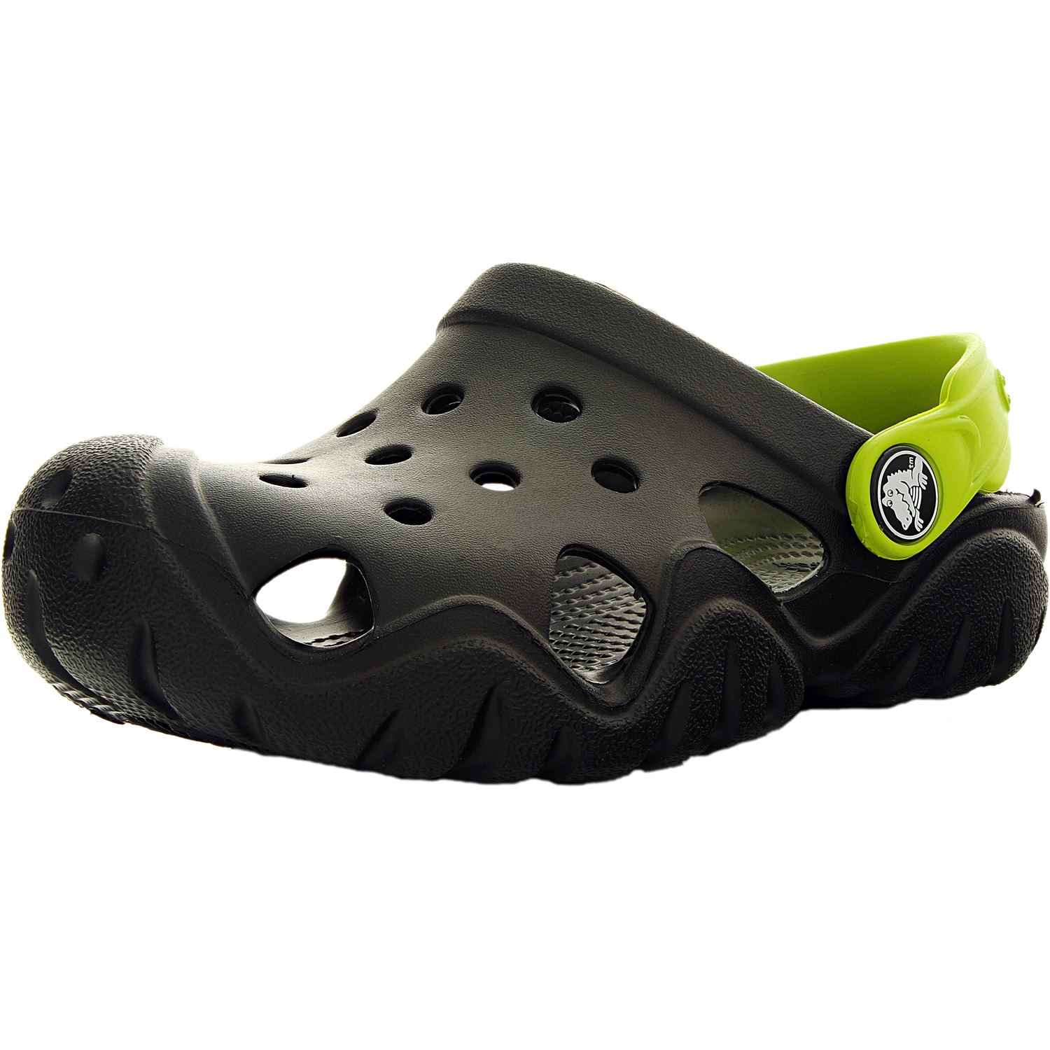 Crocs Boy's Swiftwater Clog Black Volt Green Ankle-High Flat Shoe 2M by Crocs