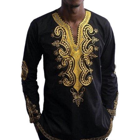 Men's Long Sleeve Floral V Neck Loose Kurta Casual Shirts Designer Mens Kurta